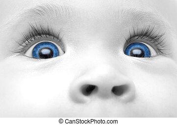 azul bebê, olhos