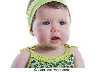 azul, bebê, olhos, menina, bonito
