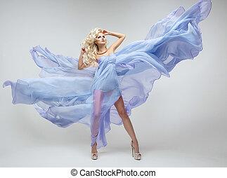 azul, beleza, loura, vestido, mulher, excitado