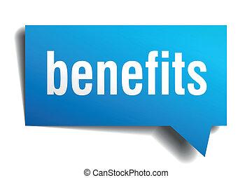 azul, benefícios, isolado, realístico, papel, fala, branca,...