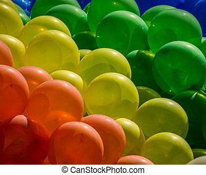 azul, bexigas, festivo, organge, verde amarelo, fundo, vermelho