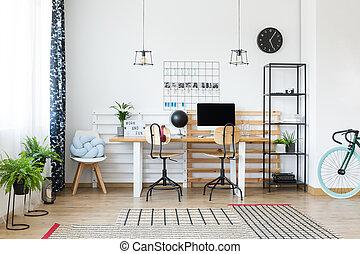 azul, bicicleta, espaço escritório