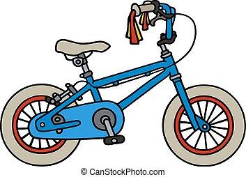 azul, bicicleta, niño