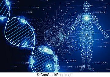 azul, binário, conceito, adn, human, ciência, abstratos, modernos, luz, olá tecnologia, fundo, mundo digital, tecnologia