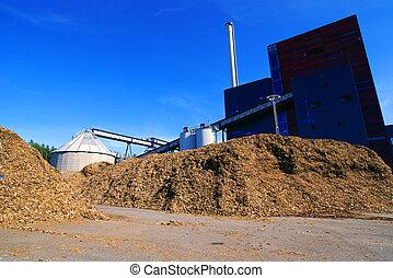 azul, bio, planta, potencia, de madera, cielo, almacenamiento, contra, combustible