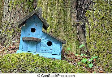 azul, birdhouse de madera