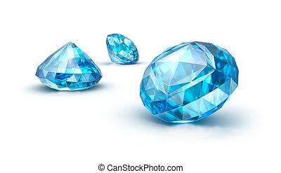 azul, blanco, aislado, piedras preciosas