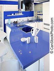 azul, blanco, cocina, moderno, diseño de interiores, casa