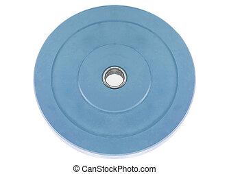 azul, blanco, dumbbell, aislado, peso