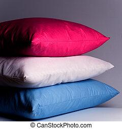 azul, blanco, rosa, almohadas