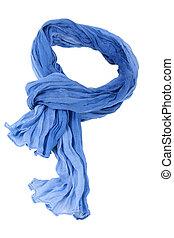 azul, blanco, scarft, aislado, algodón