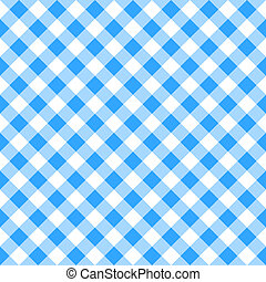 azul, blanco, tartán, mantel