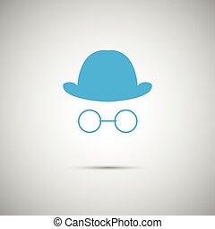 azul, blanco, vector, sombrero, plano de fondo
