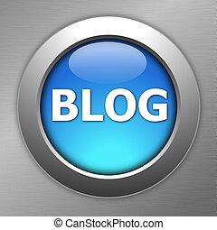 azul, blog, botón