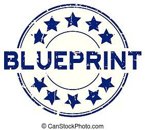 azul, blueprint, grunge, selo, borracha, fundo, selo, palavra, branca, redondo