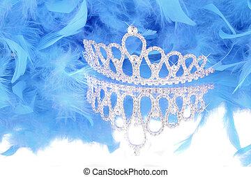 azul, boa, pena, tiara
