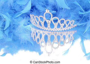 azul, boa, pluma, tiara