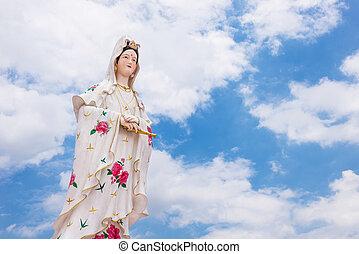 azul, bodhisattva, chino, dios, cielo, blanco, sculture