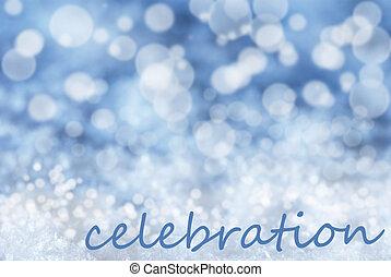 azul, bokeh, navidad, plano de fondo, nieve, texto, celebración
