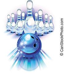 azul, bola de bowling, en el movimiento, y, el, alfileres