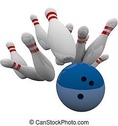 azul, bola de bowling, notable, alfileres, ganando, éxito, juego