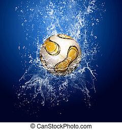 azul, bola futebol, ao redor, água, fundo, sob, gotas
