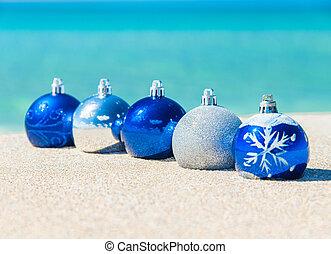 azul, bolas, árvore, decorações natal, praia, prata, arenoso