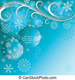 azul, bolas, fundo, (vector), natal