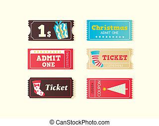 azul, boletos, cine, retro, navidad, rojo