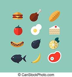 azul, bolo, jogo, legumes, alimento, carne, quente-cachorro, icons., flat-style, fundo, fish.