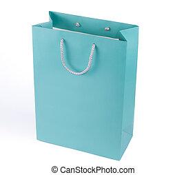 azul, bolsa, turquesa, compras