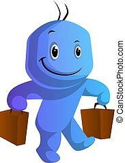 azul, bolsas, ilustración, vector, plano de fondo, caracter,...