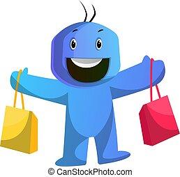azul, bolsas, shoping, tenencia, ilustración, vector, plano ...