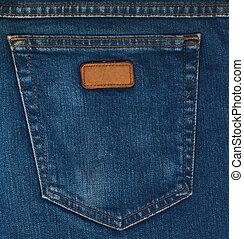 azul, bolso, calças brim, closeup
