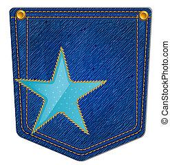 azul, bolso, jean