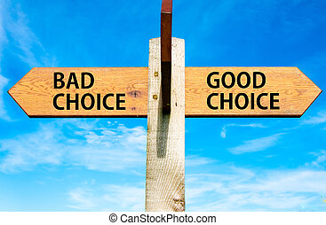 azul, bom, céu, oposta, madeira, signpost, sobre, setas, dois, escolha, claro, mau, direita, mensagens, imagem conceitual