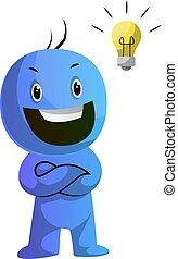 azul, bombilla, ilustración, vector, plano de fondo, ...