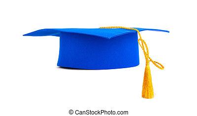 azul, boné graduação, com, ouro, tassel, isolado, ligado, um, fundo branco