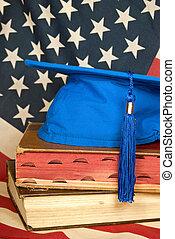 azul, boné graduação, ligado, livros