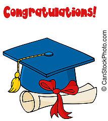 azul, boné graduado, com, diploma