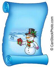 azul, boneco neve, pergaminho, natal