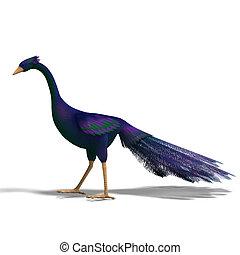 azul, bonito, cortando, fantasia, sobre, feathers., pássaro, fazendo, caminho, branca, sombra, 3d
