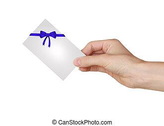 azul, bonito, segurando, presente, isolado, mão, cartão, fundo, branca, arco, fita