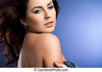 azul, bonito, vestido, mulher