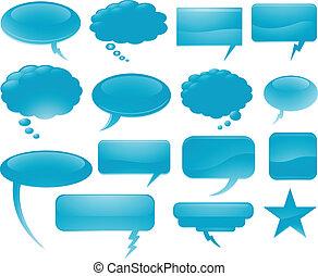 azul, borbulho fala