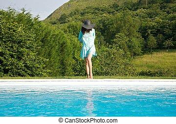 azul, borda, mulher, vestido, piscina