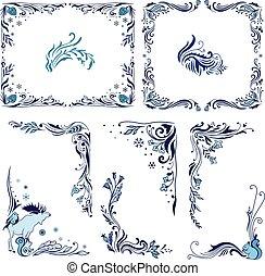 azul, bordas, natal, cantos