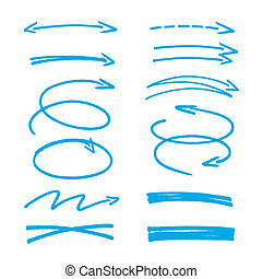 azul, bosquejo, conjunto, flechas
