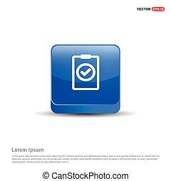 azul, botão, -, ícone, ckeklist, 3d
