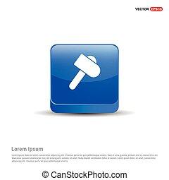 azul, botão, -, ícone, martelo, 3d
